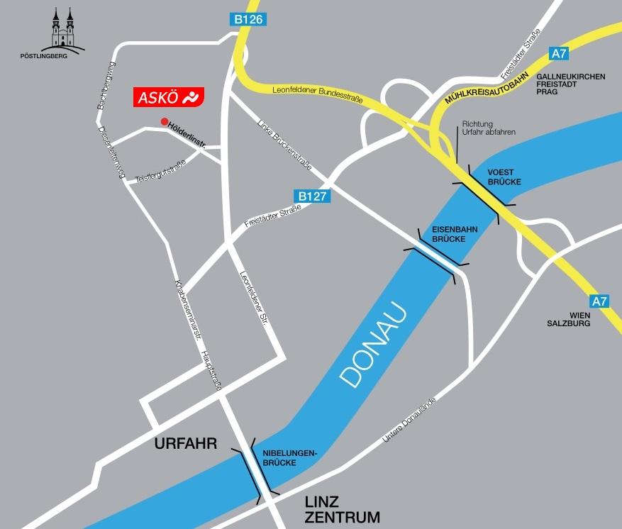 Anfahrtkarte zur ASKÖ Oberösterreich